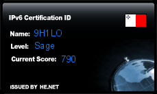 IPv6 Certification Badge for 9H1LO