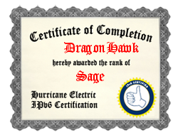 IPv6 Certification Badge for DragonHawk