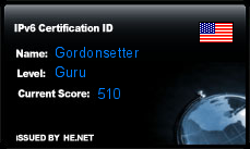 IPv6 Certification Badge for Gordonsetter