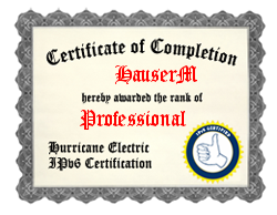 IPv6 Certification Badge for HauserM