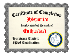 IPv6 Certification Badge for Hispanico