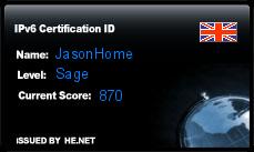 IPv6 Certification Badge for JasonHome