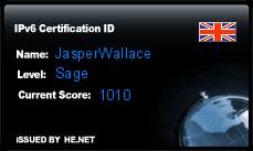 IPv6 Certification Badge for JasperWallace