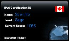 IPv6 Certification Badge for Servinfo