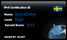 IPv6 Certification Badge for SpaceDump