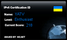 IPv6 Certification Badge for YATV