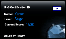 IPv6 Certification Badge for Yaron