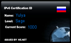 IPv6 Certification Badge for Yulya