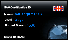 IPv6 Certification Badge for adriangrimshaw