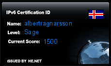 IPv6 Certification Badge for albertragnarsson