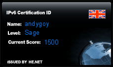 IPv6 Certification Badge for andygoy