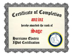 IPv6 Certification Badge for antint