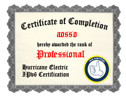 IPv6 Certification Badge for aosso