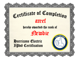 IPv6 Certification Badge for areef