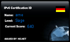 IPv6 Certification Badge for arne