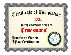 IPv6 Certification Badge for axu