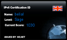 IPv6 Certification Badge for belial