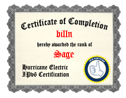 IPv6 Certification Badge for billn