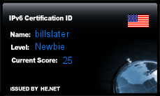 IPv6 Certification Badge for billslater