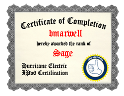 IPv6 Certification Badge for bmarwell