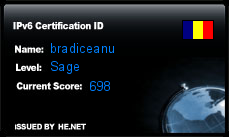 IPv6 Certification Badge for bradiceanu
