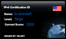 IPv6 Certification Badge for brianewell