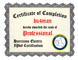 IPv6 Certification Badge for bu4man