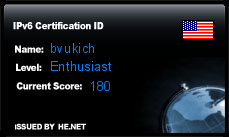IPv6 Certification Badge for bvukich