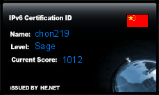 IPv6 Certification Badge for chon219