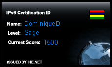IPv6 Certification Badge for dominiqued