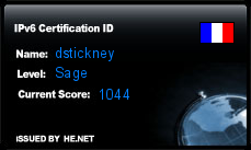 IPv6 Certification Badge for dstickney