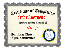 IPv6 Certification Badge for Fredrik Dernebo