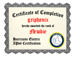 IPv6 Certificatio----n Badge for griphonix