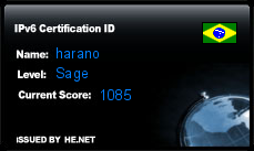 IPv6 Certification Badge for harano
