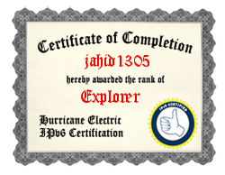 IPv6 Certification Badge for jahid1305