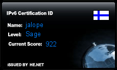 IPv6 Certification Badge for jalope