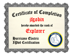 IPv6 Certification Badge for jfgobin