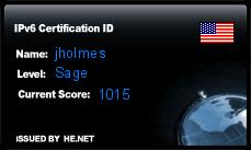 IPv6 Certification Badge for jholmes