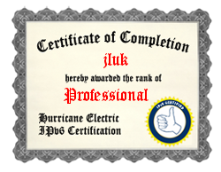 IPv6 Certification Badge for jluk