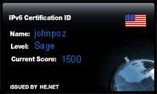 IPv6 Certification Badge for johnpoz