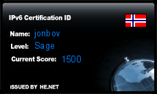 IPv6 Certification Badge for jonbov