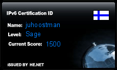 IPv6 Certification Badge for juhoostman