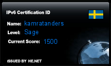 IPv6 Certification Badge for kamratanders