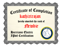IPv6 Certification Badge for kathirirajan