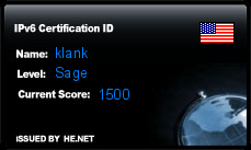 IPv6 Certification Badge for klank