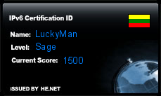 IPv6 Certification Badge for luckyman