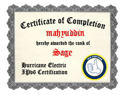 IPv6 Certification Badge for mahyuddin