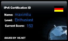 IPv6 Certification Badge for maximliu