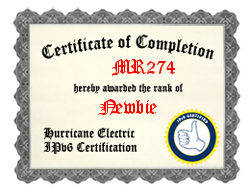 IPv6 Certification Badge for mr274