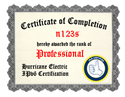 IPv6 Certification Badge for n123s